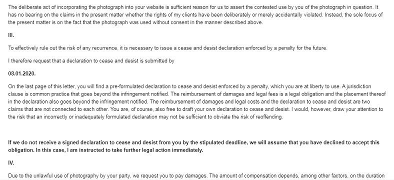 Photography defender copyright email intimidatoria